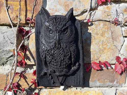 Old Irish Bog Oak Owl Sculpture