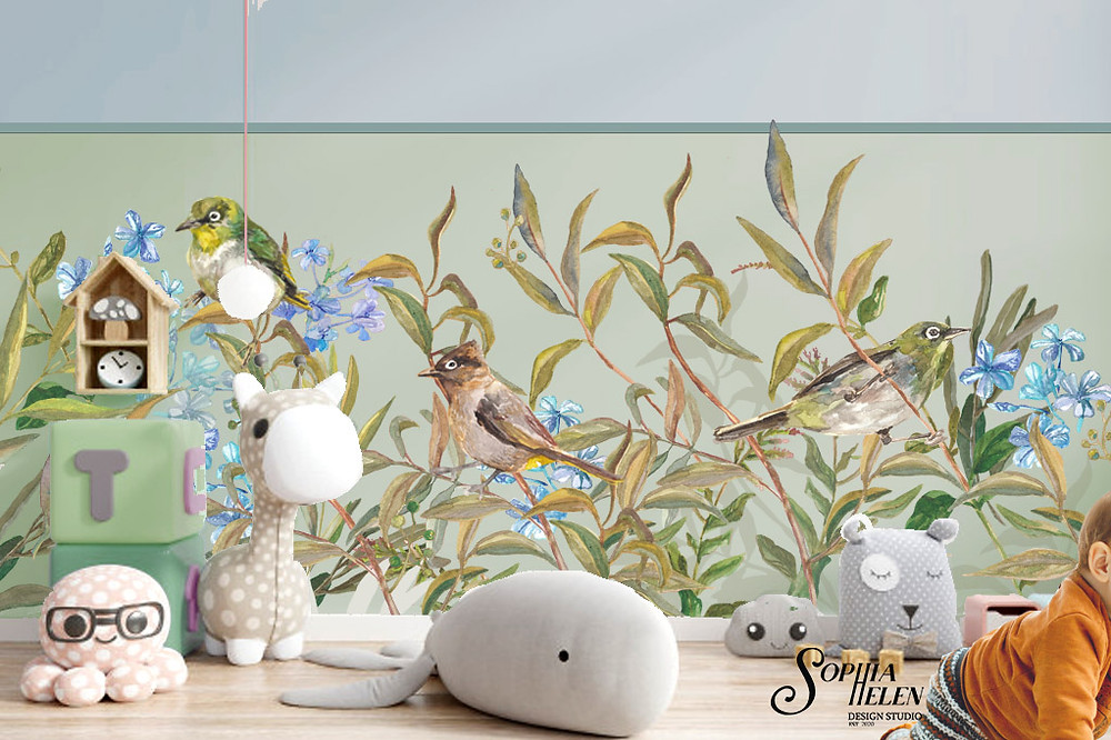 Wallpaper with birds. This wild wallpaper strip by SophiaHelen design is paired with wall colour by Paint & Decor.
