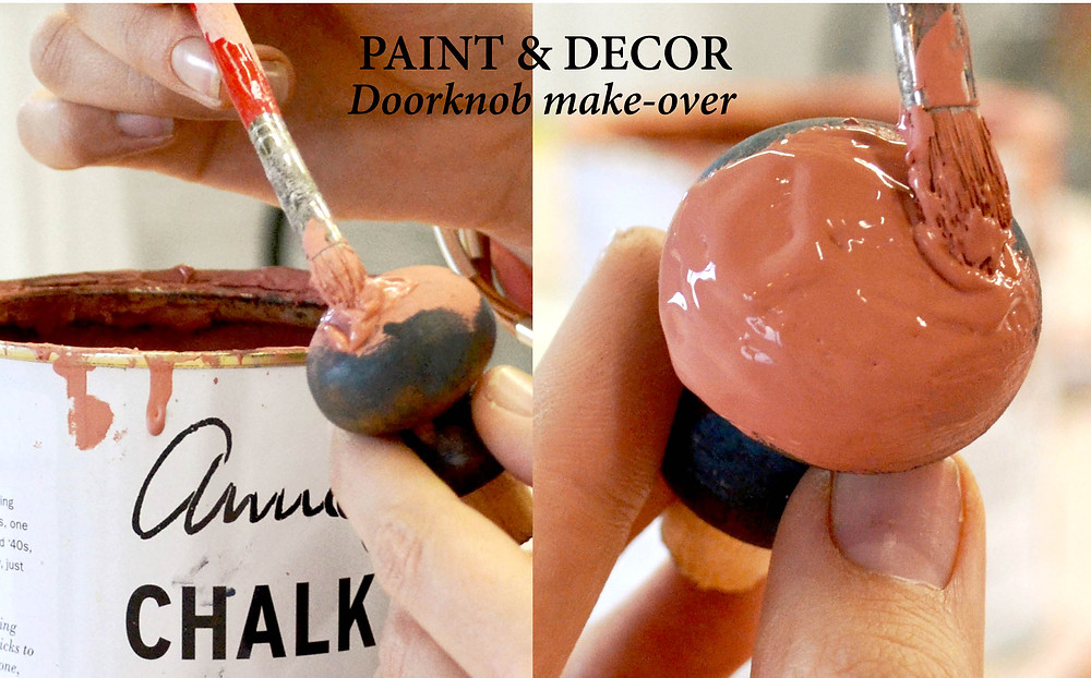 Paint thick Annie Sloan Chalk paint over the doorknobs
