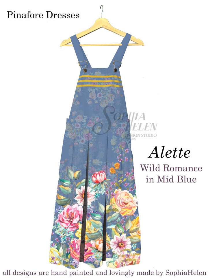 Alette Pinafore Wild Romance in mid blue
