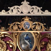 Bluebird painted on foam filigree trim - For Sale