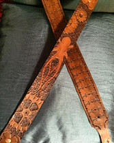 Leather strap with carved octopus and gears