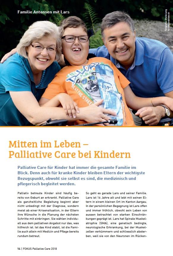 """Artikel im """"Focus (Sommer 2018)"""" des Vereins Palliativ Zug"""