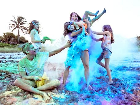 Color Run FUN: Mariam & Jose family photoshoot at Golden Beach, FL