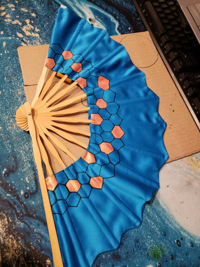 Fabric and wood, handpainted fan
