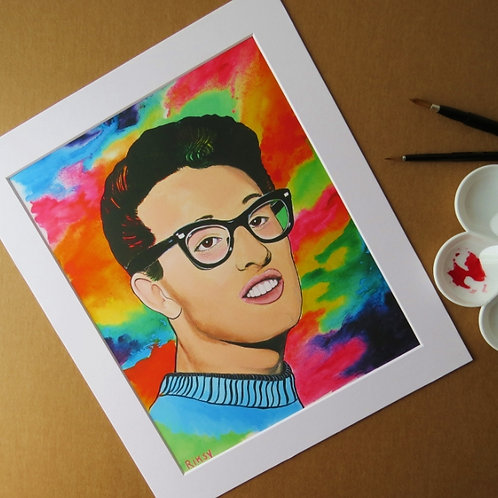 BUDDY HOLLY - ART PRINT WITH MOUNT