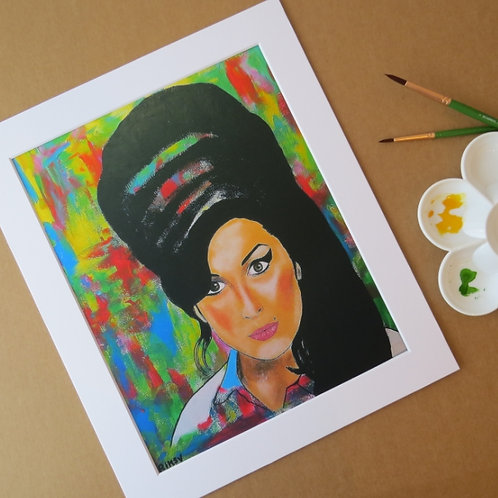 AMY WINEHOUSE - ART PRINT WITH MOUNT