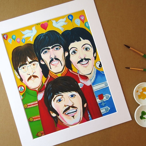 THE BEATLES - SUMMER OF LOVE ART PRINT WITH MOUNT