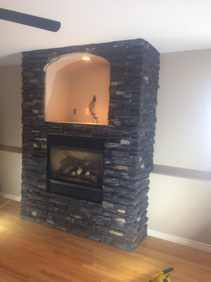 AFTER: Stone fireplace