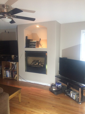 BEFORE: Stone fireplace