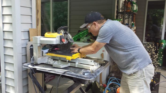 Cutting patio stone