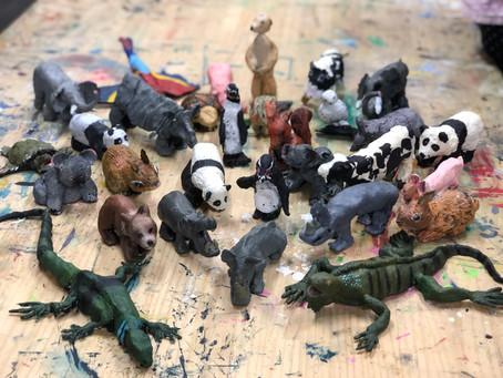 こどもクラス.動物フィギア粘土制作