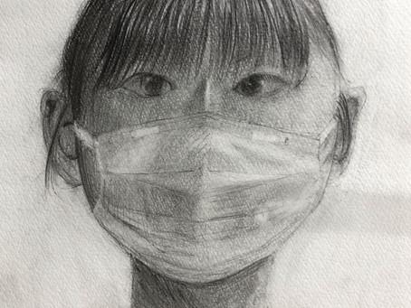 小学生クラス.マスクの自画像デッサン