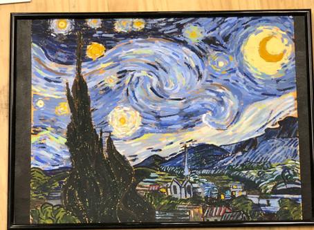 こどもクラス.ゴッホ星月夜模写
