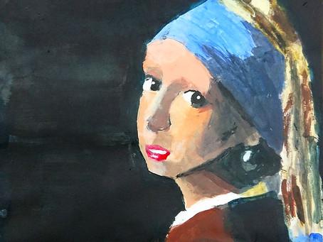 こどもクラス.「真珠の耳飾りの少女」模写