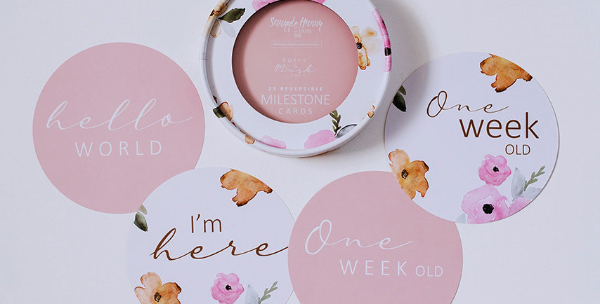 Snuggle Hunny - Poppy & Musk Pink Reversible Milestone Cards