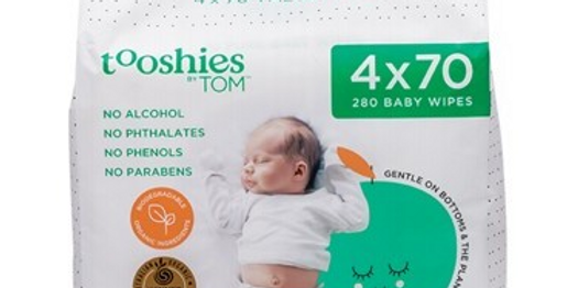 Tooshies By Tom -  Pure Baby Wipes Value Pack 4x70