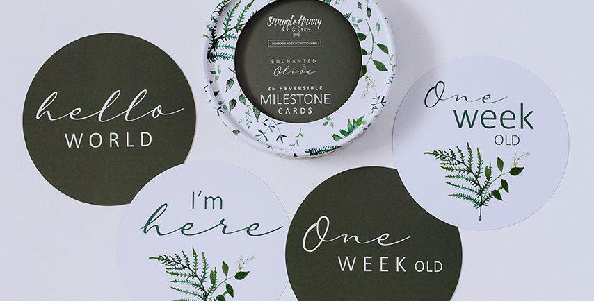Snuggle Hunny - Enchanted Olive Reversible Milestone Cards