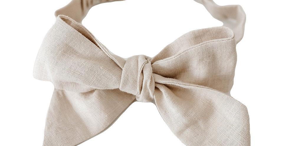 Snuggle Hunny - Natural Linen Bow Pre-Tied Headband Wrap