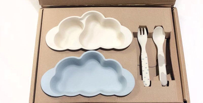 Sweet Pea - Bamboo Childrens Dinner set - Blue/white Biodegradable