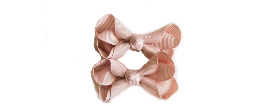 Snuggle Hunny - Nude Clip Bow - Small Piggy Tail Pair