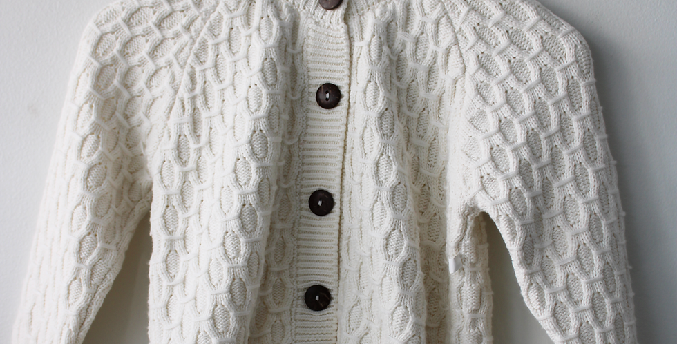 Sweet Pea - White Cardigan Brown Buttons