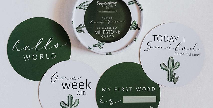 Snuggle Hunny - Cactus & Leaf Green Reversible Milestone Cards