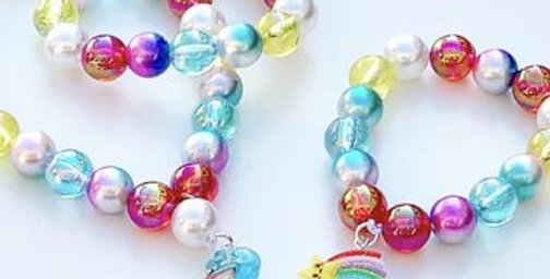 Sweet As Sugar -Rainbow Beaded Necklace with Matching Bracelet