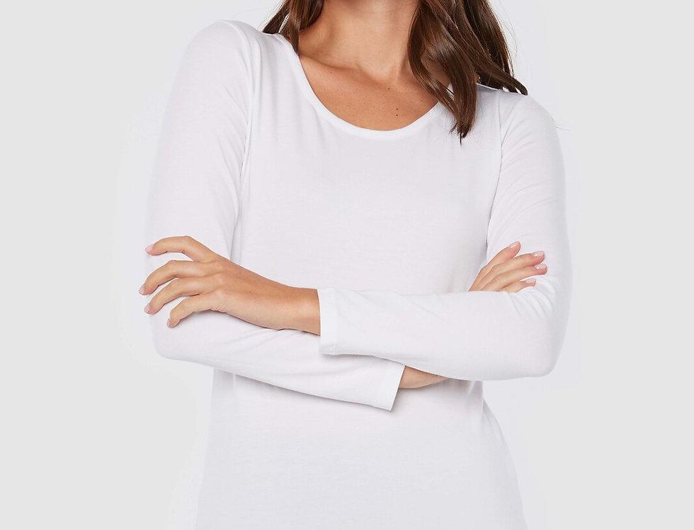 Bamboo Body - Christina Long Sleeve Scoop Neck White
