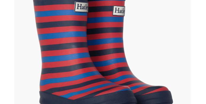 Hatley - Navy Stripe Matte Rain Boots