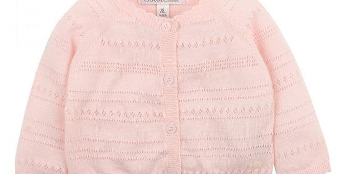 Mini Haha - BÉBÉ Barely Pink Pointelle Cardigan