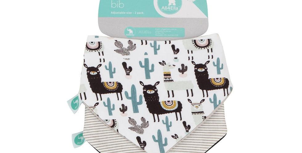 All4Ella - Bandana Bibs 2pk - Reversible  Cactus & Llama