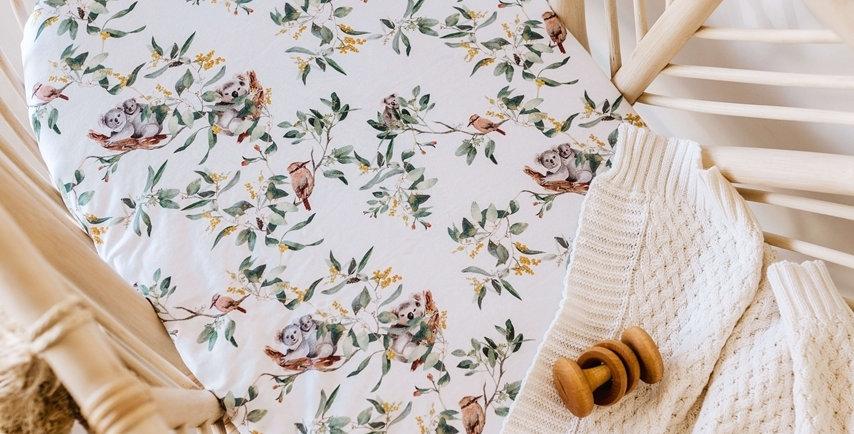 Snuggle Hunny - Eucalypt  Bassinet Sheet Change Pad Cover