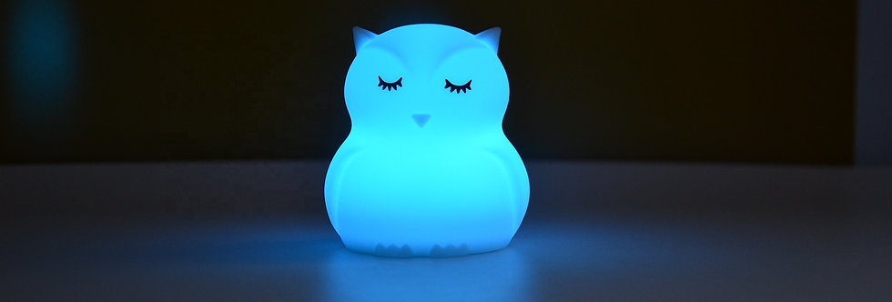 Sweet Pea - Multicolor Silicone Owl Night light - Large
