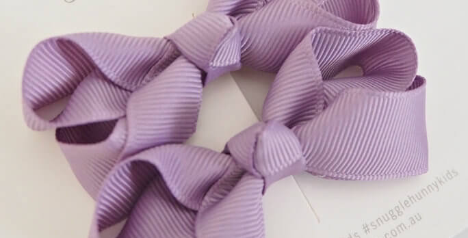 Snuggle Hunny - Lilac Clip Bow  Small Piggy Tail Pair
