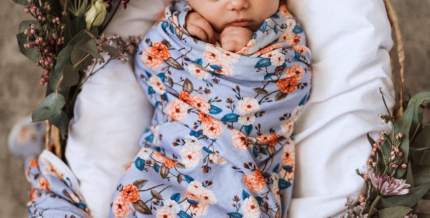Snuggle Hunny - Vintage Blossom Baby Jersey Wrap & Topknot Set