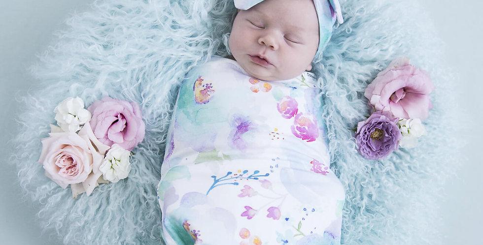 Snuggle Hunny - Sweet Petal  Snuggle Swaddle & Topknot Set