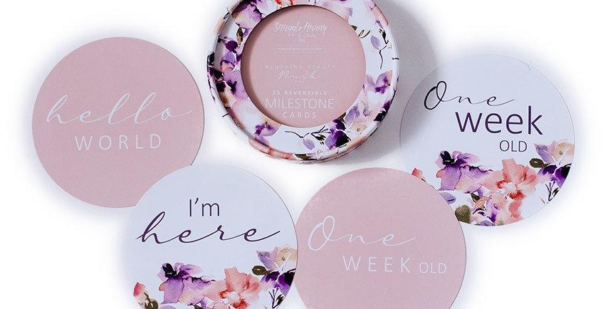 Snuggle Hunny - Blushing Beauty & Musk Pink Reversible Milestone Cards