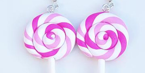Sweet As Sugar - Pink Lollipop Dangle Earrings