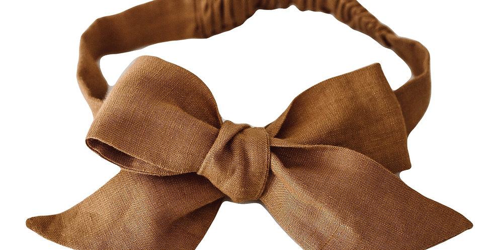 Snuggle Hunny - Mustard Linen Bow Pre-Tied Headband Wrap