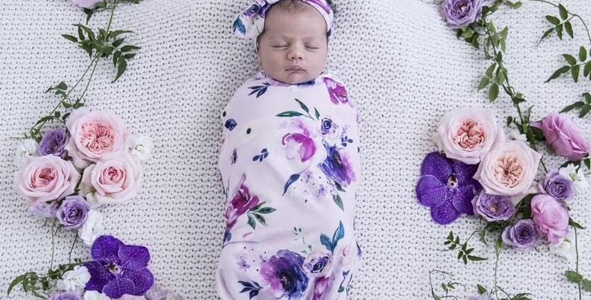 Snuggle Hunny - Floral Kiss  Snuggle Swaddle & Top Knot Set