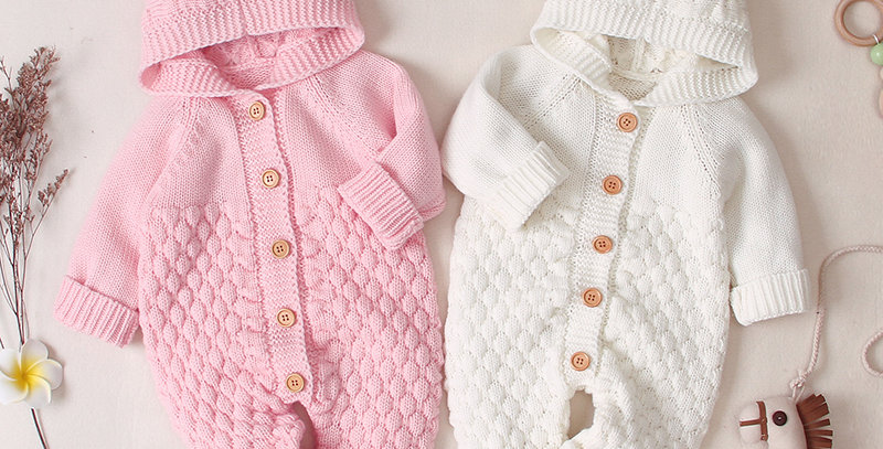 Sweet Pea - Baby Rompers Knitted Long Sleeve