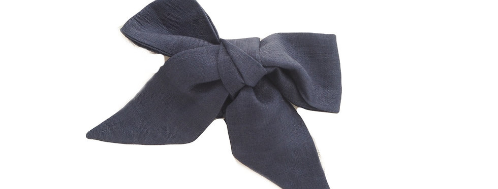 Snuggly Hunny - Navy Linen Bow Pre - Tied Headband Wrap