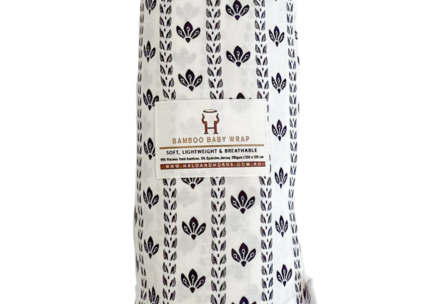 Halo & Horns - Baby Swaddle | Organic Bamboo Jersey - Ombre Leaf