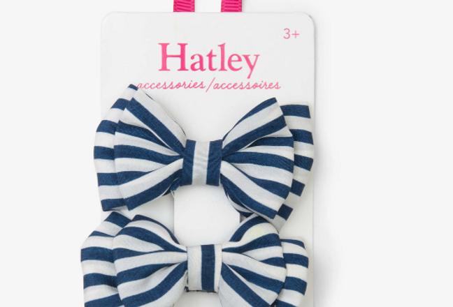 Hatley - Navy Stripe Bows Hair Clips