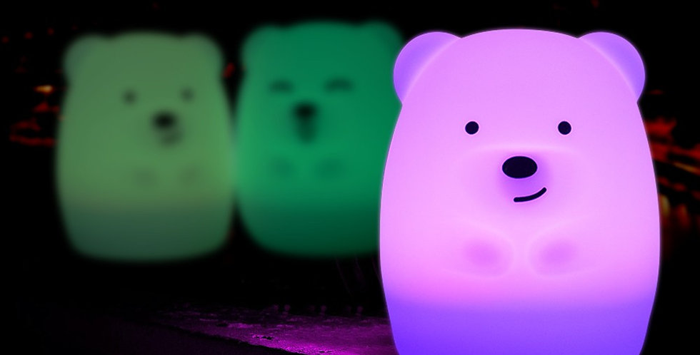 Sweet Pea - Multi Coloured Silicone Bear Night Light small