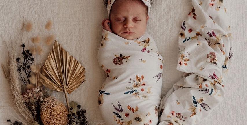 Snuggle Hunny - Boho Posy Baby Jersey Wrap & Topknot Set