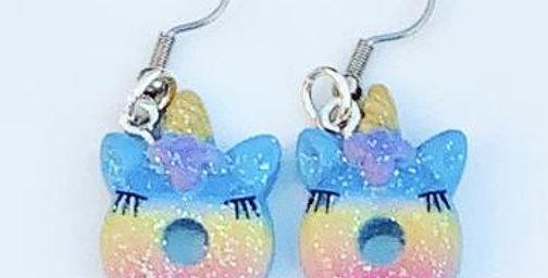 Sweet As Sugar - Unicorn Donut Dangle Earrings