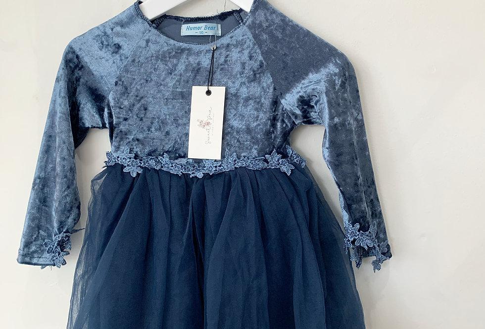 Sweet Pea - Blue Velvet Dress