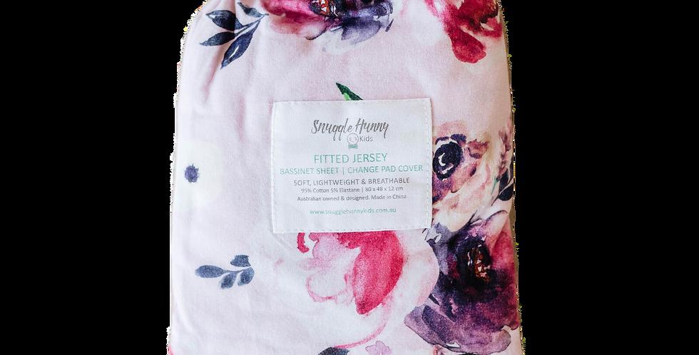 Snuggle Hunny - Floral Kiss  Bassinet Sheet / Change Pad Cover Multipurpose